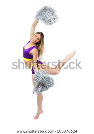 Young flexible cheerleader girl dancer with silver Cheerleading Pom Poms against white background