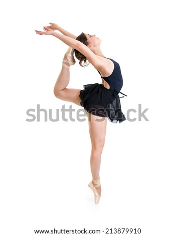 young flexible dancer girl isolated on white
