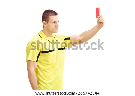 Young football referee in yellow dress showing a red card isolated on white background - stock photo