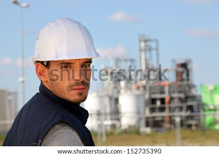 young foreman posing in construction site