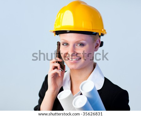 Young Forewoman talking on the phone