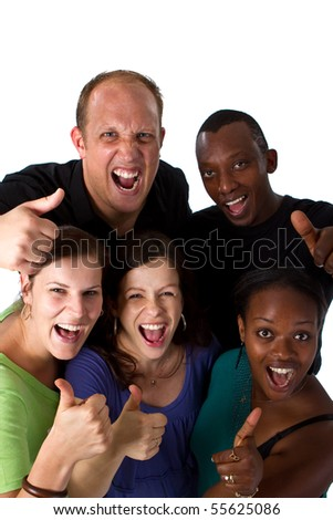 Young fresh multiracial group - stock photo
