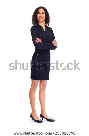Young friendly business woman isolated white background