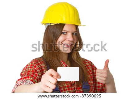 Young friendly craftswoman with businesscard  isolated on white background - stock photo