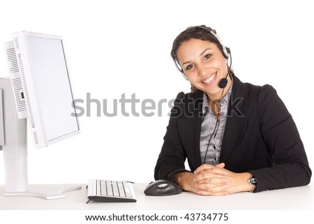 young friendly operator woman agent in an office over white background