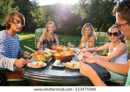 Young friends enjoying meal at garden party - stock photo