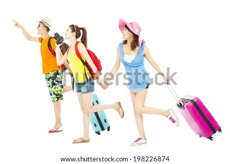 young friends  happy to travel worldwide together - stock photo