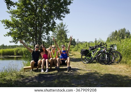 young friends touring around baltic sea - stock photo
