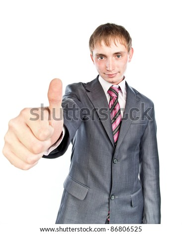 young funny guy in a gray suit ,isolated over white