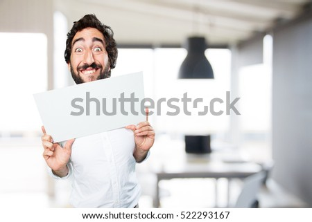 young funny man with a placard