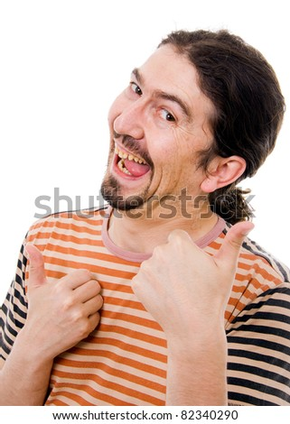 Young funny man with silly face, isolated on white - stock photo