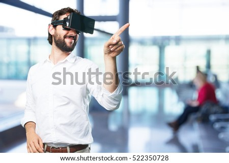 young funny man with virtual glasses