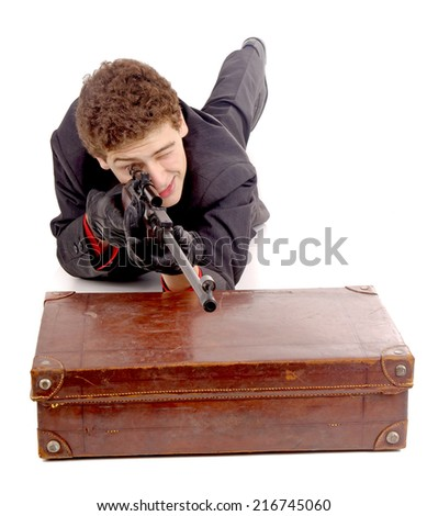 young gangster isolated in white - stock photo