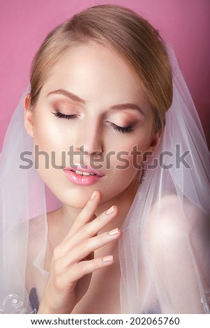 Young Gentle Quiet Bride in Classic White Veil. Portrait of beautiful bride. Beautiful Woman Touching her Face. Youth and Skin Care Concept. Beautiful woman with professional make up . - stock photo