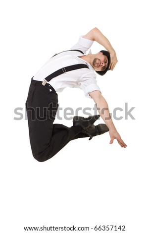 Young gentleman jumping against isolated white background