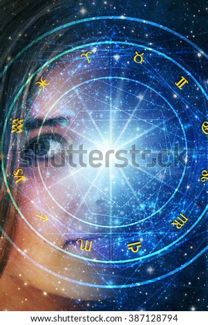 young girl and astrology - stock photo