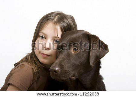 Young Girl and her Dog 2 - stock photo