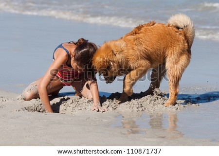 young girl and her little dog are digging a hole in the sand
