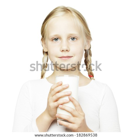 Young girl and milk glass, healthy eating concept - stock photo