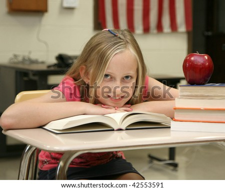 Young girl at school - stock photo