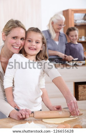 Young girl baking - stock photo