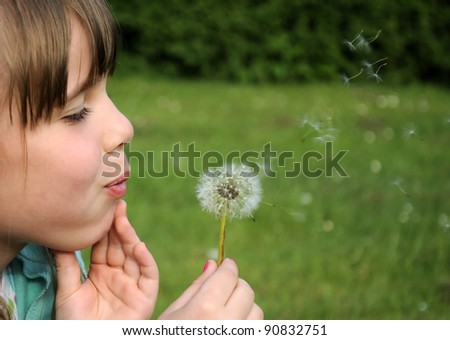 Young girl blowing dandelion - stock photo