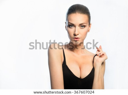 Young girl breast implants inserted 4 th size - stock photo