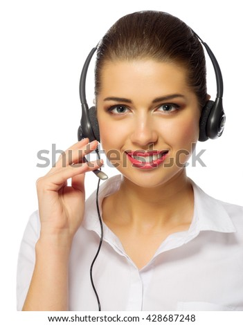 Young girl call center worker isolated - stock photo
