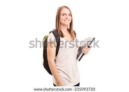 Young girl carrying a backpack, some books while going to school, isolated on white background