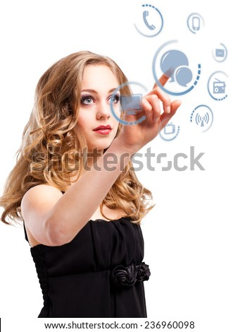 young girl choosing the chat as a communication channel