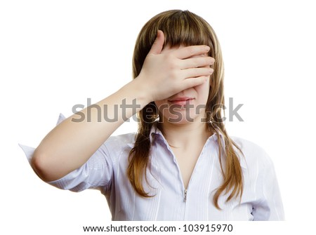 young girl closes her eyes on a white background - stock photo