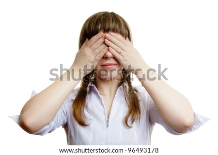 young girl closes her eyes on a white background