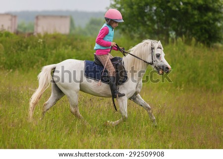 Young girl confident galloping horse on the field Outdoors - stock photo