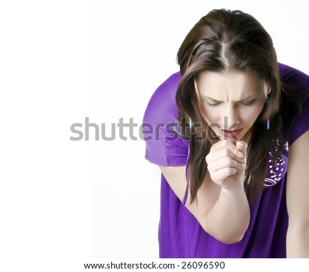 Young girl coughing - stock photo