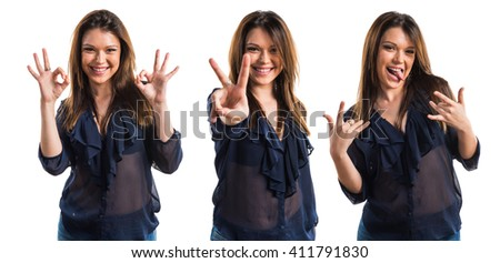 Young girl counting two - stock photo