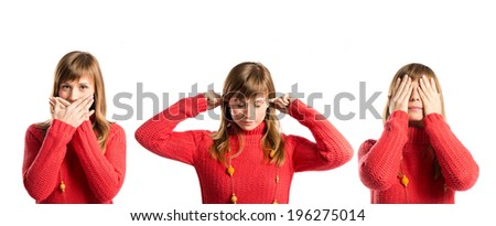 young girl covering her eyes, her mouth and her ears - stock photo