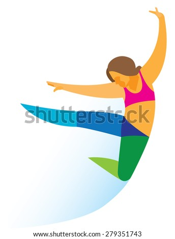 Young Girl Dancer Performs Jump Dance Stock Illustration 279351743