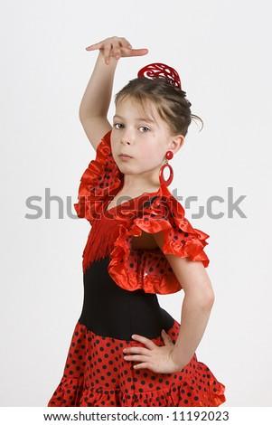 Young Girl dancing the Flamenco - stock photo