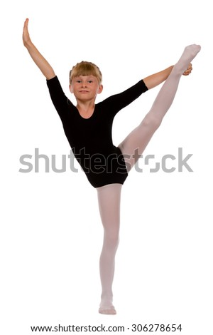 Young girl doing gymnastic exercises - isolated. - stock photo