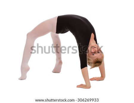Young girl doing gymnastics - isolated.