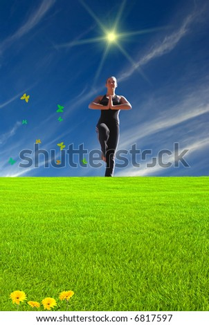 Young girl doing yoga in a fairy land scene - stock photo