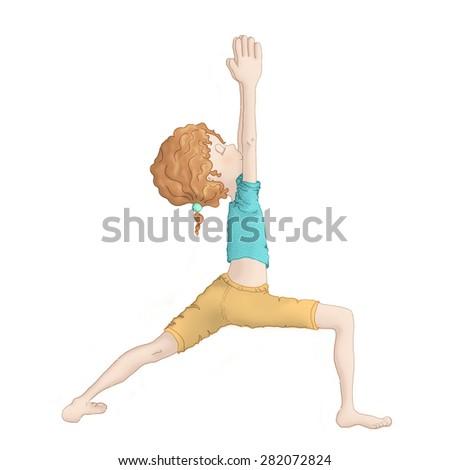 Young girl doing yoga - Virabhadrasana I (warrior I pose) - stock photo