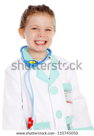 young girl dressed as a doctor
