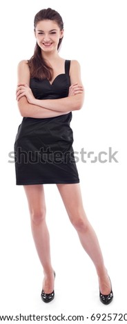 Young girl dressed in black on a white background