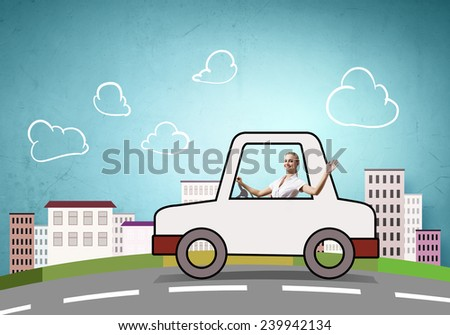 Young girl driving drawn little funny car - stock photo