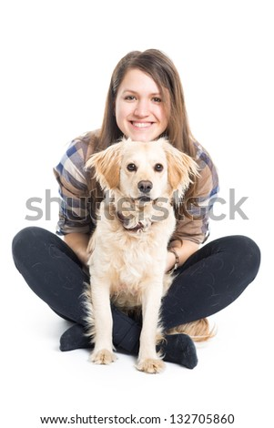 Young Girl Embracing Her Pet