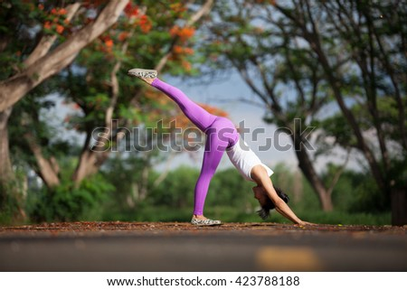 Young girl engaged in yoga