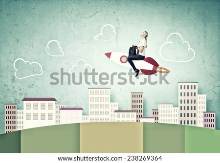 Young girl flying on rocket against drawn background - stock photo