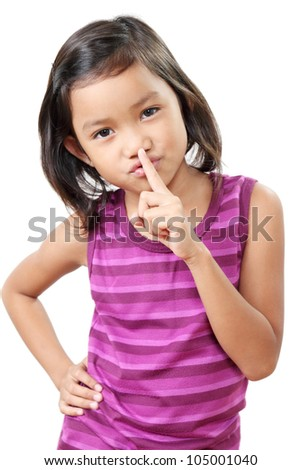 Young girl gesturing for silence.In white background. - stock photo