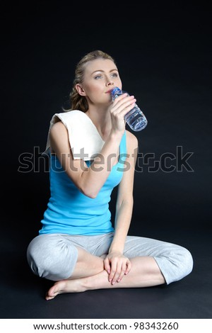 Young girl goes in for sports. - stock photo